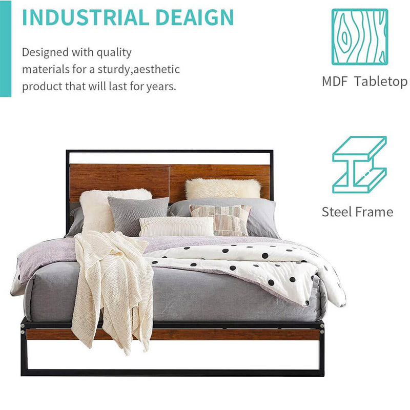 Full Bed Frame with Wooden Headboard,Platform Metal Bed Frame with Footboard