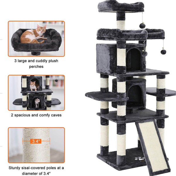 Multi-Level Cat Tree for Large Cats with Cozy Perches Stable 67 inches