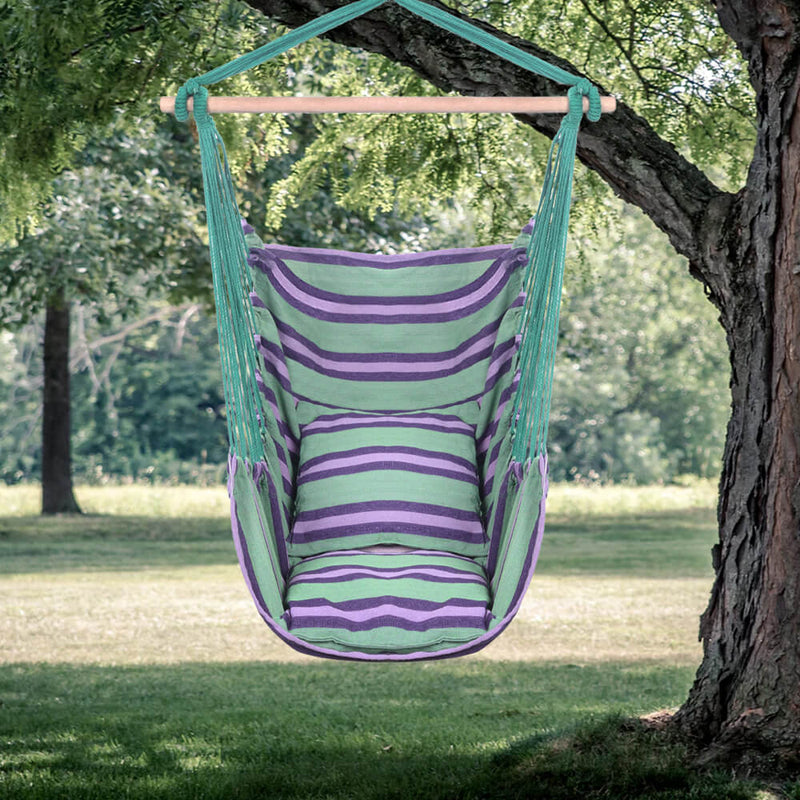 Patio Hammock Swing, Hanging Rope Hammock Chair, Cotton Hanging Air Swing with Cushions, Green