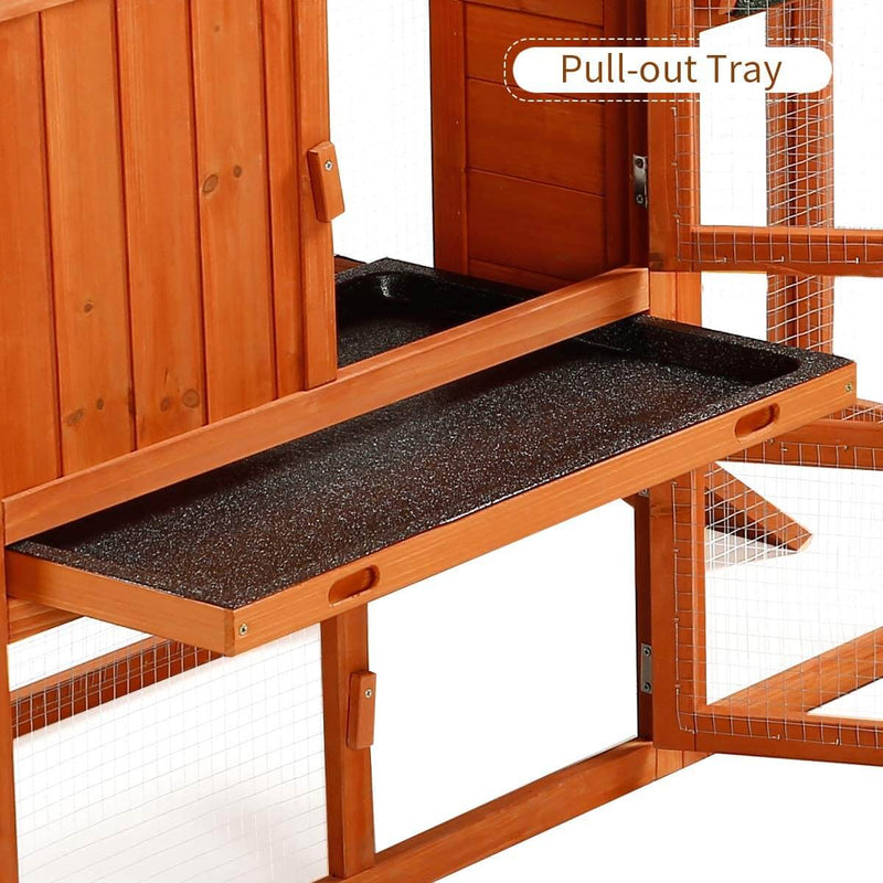 Rabbit Hutch Wooden Outdoor Open Roof Removable Tray & Ramp (54.3 inches)