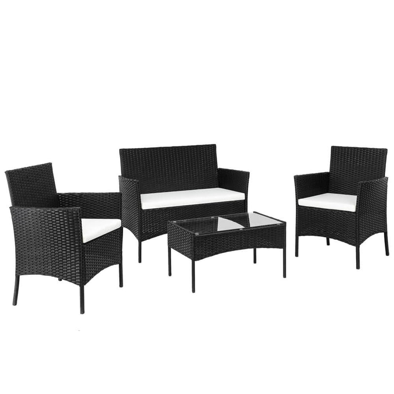 4 Pieces Outdoor Conversation Set Patio Dining Set Rattan Sofa Set Black