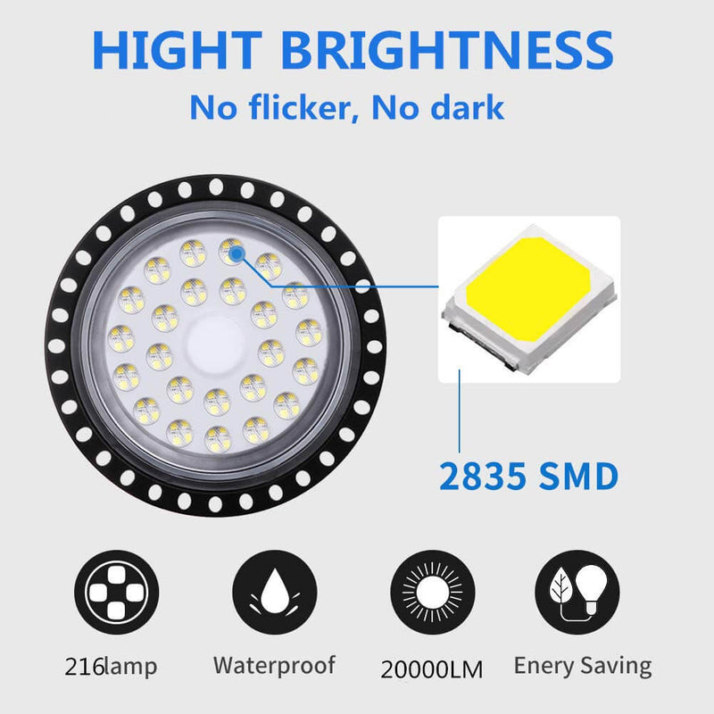 200W Cold White LED High Bay Light UFO Light for Workshops and Factories 1 Pcs