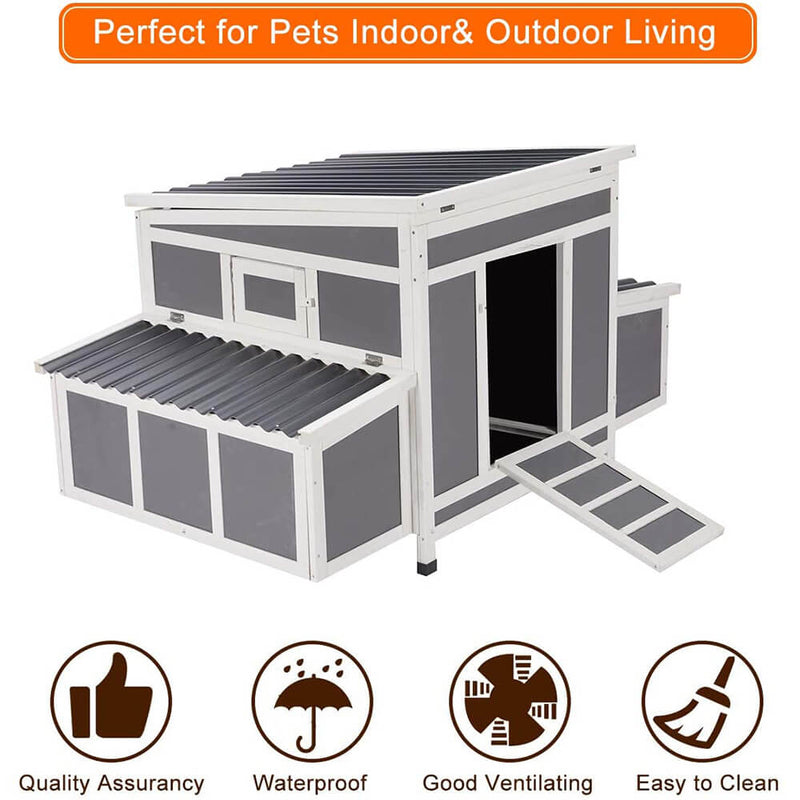 Outdoor Large Chicken Coop Wooden Cage Gray