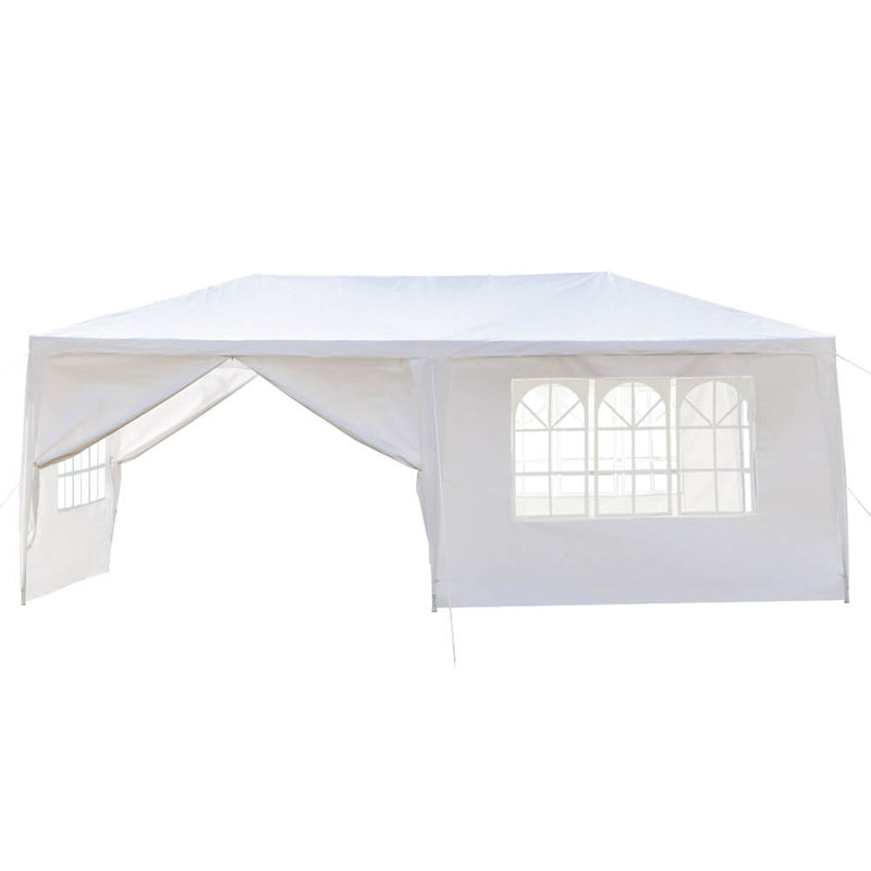 Outdoor Canopy Tent 10 x 20 ft with Spiral Tubes White Six Sides 2 Doors & 4 Windows