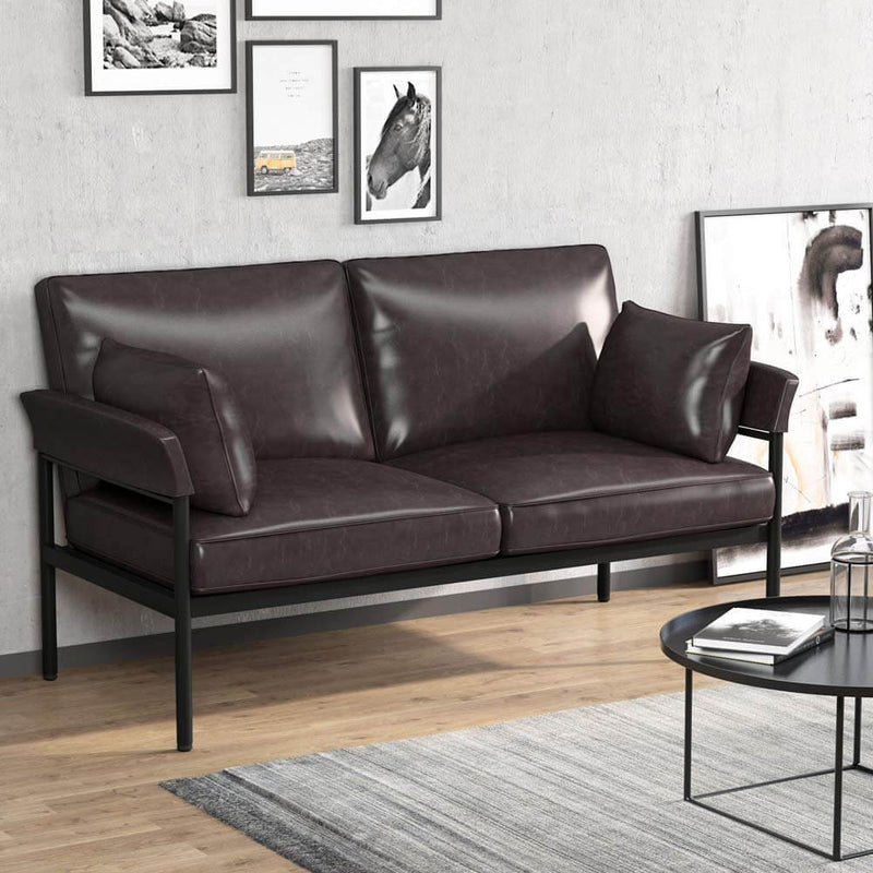 PU Leather Sofa Loveseat Modern Upholstered Couch Brown