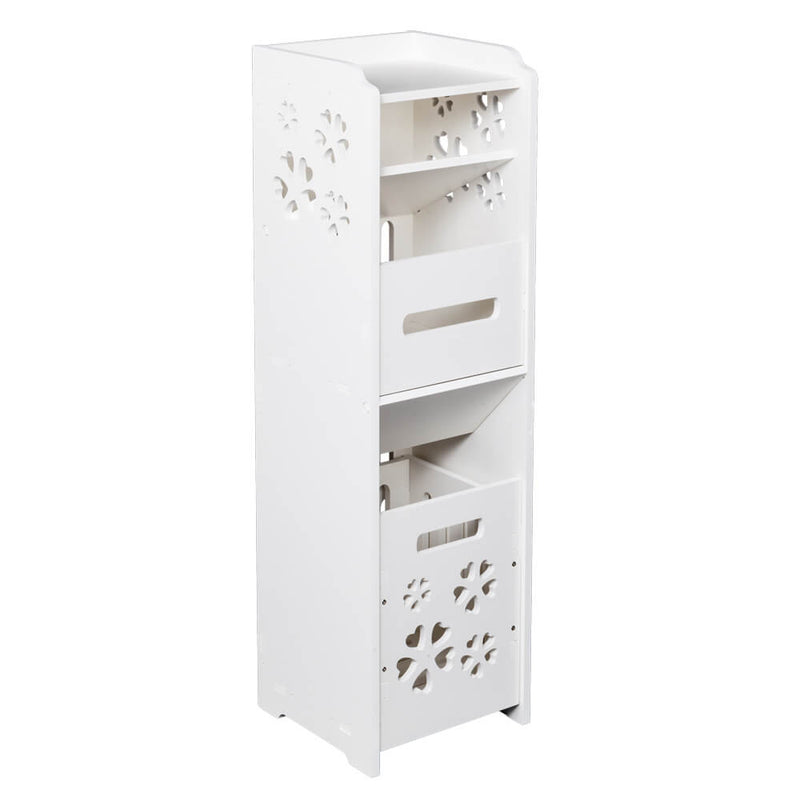 3-tier Bathroom Storage Cabinet with Garbage Can 10x10*31 inches White