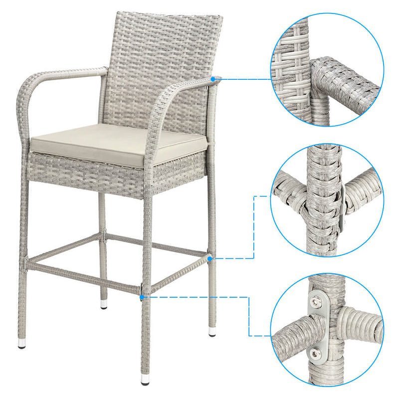 2-Piece Outdoor PE Rattan Wicker Chairs, High Bar Stool Chair, Patio Furniture Set with Cushions Armrest and Footrest, Gray