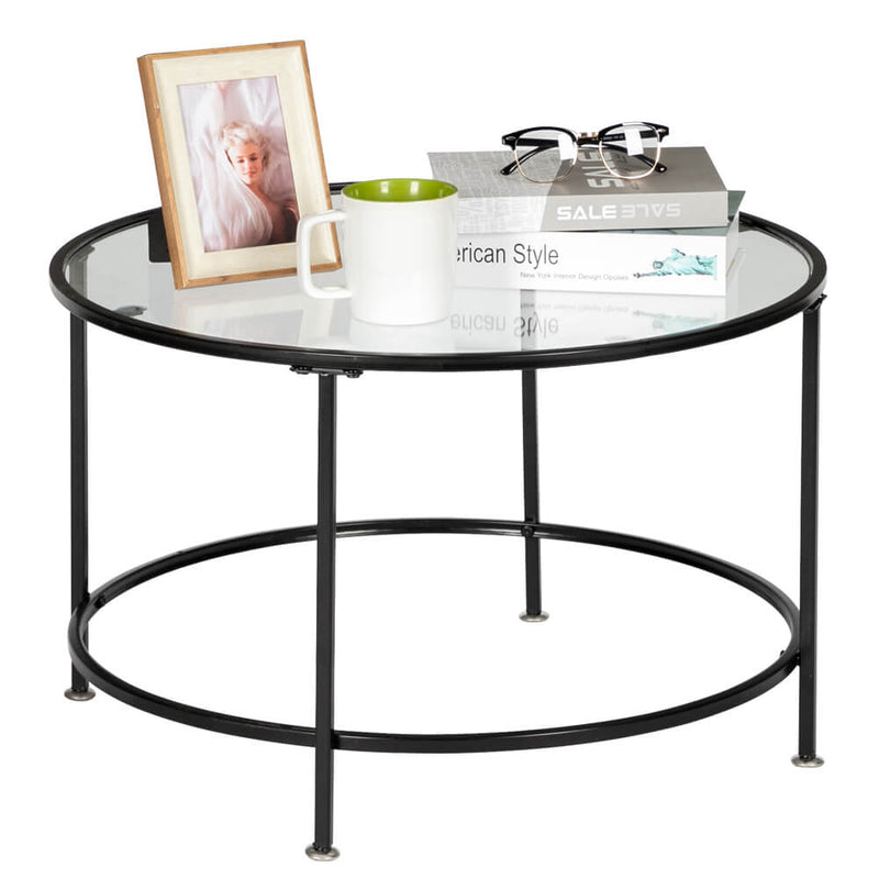 Round Wrought Iron Coffee Table 2 Layers Tempered Glass Countertops Black 27 Inches