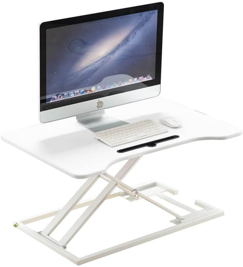 Height Adjustable Standing Desk Gas Spring Riser Desk Converter for Dual Monitor Sit to Stand in Seconds, White