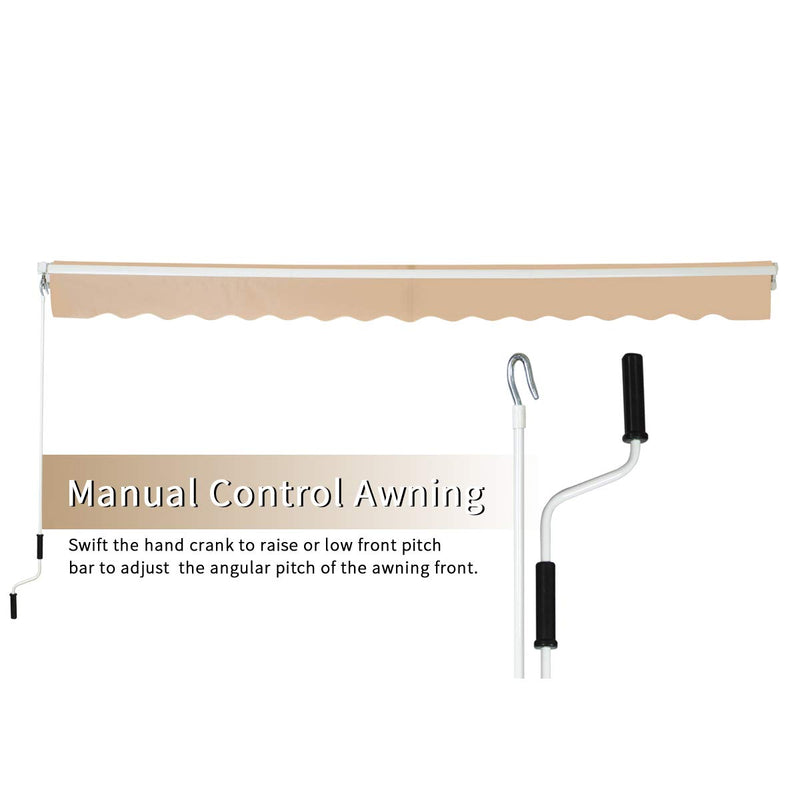 Patio Awning Retractable Sun Shade with Manual Crank Handle Beige