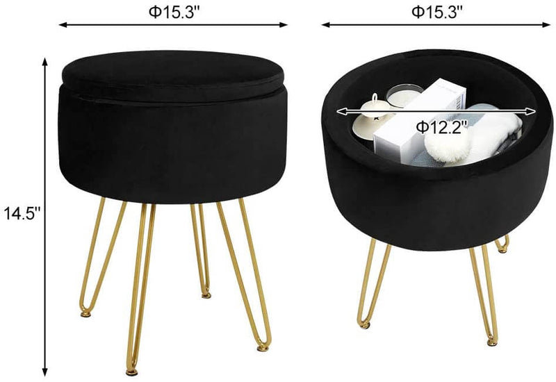 Velvet Footrest Storage Ottoman Round Modern Upholstered Vanity Footstool Side Table Seat Dressing Chair with Golden Metal Leg, Black
