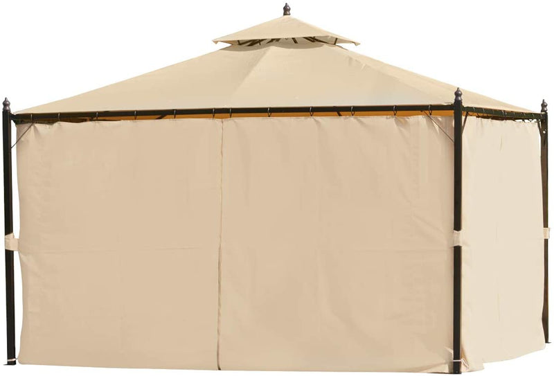 10 x 12 FT Double-Roof Softtop Gazebo Canopy, Outdoor Steel Frame Gazebo with Shade Curtains, Beige