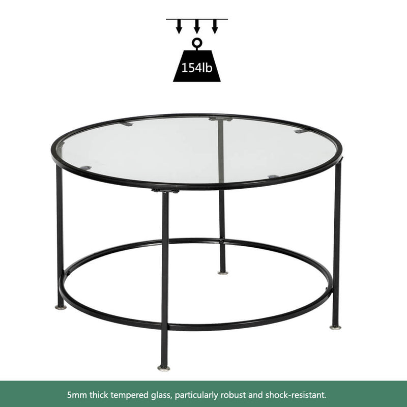 Round Wrought Iron Coffee Table 2 Layers Tempered Glass Countertops Black 36 Inches