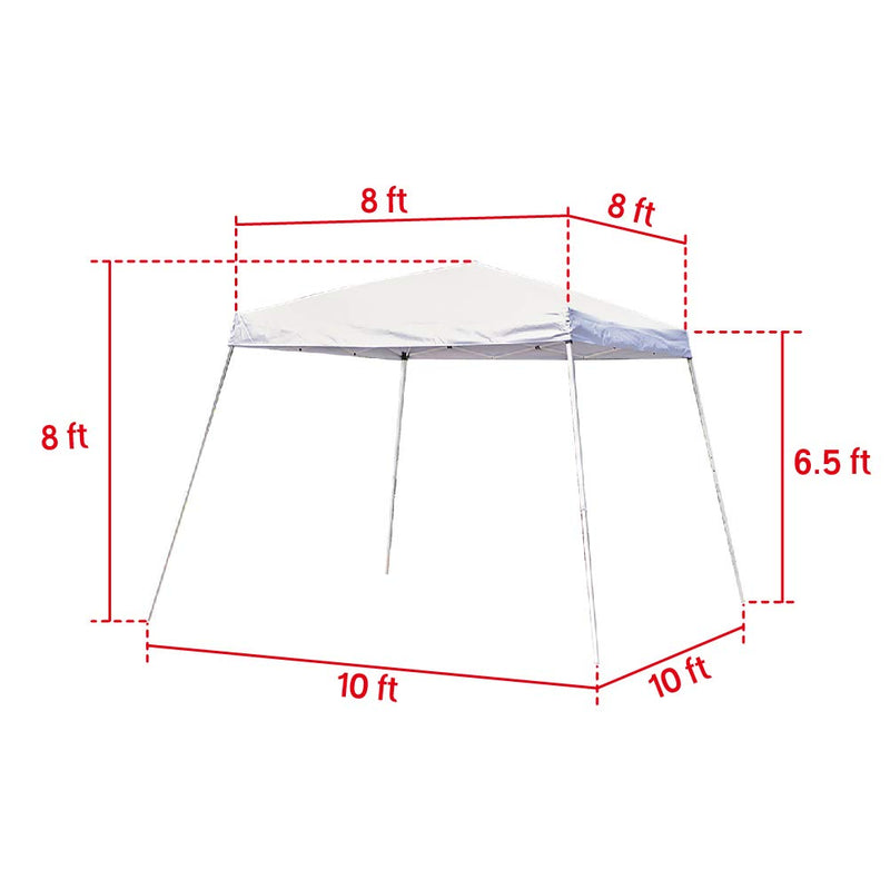 Outdoor Canopy Tent Portable Slant Leg Shelter Folding Canopy 10x10 ft White