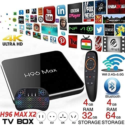 H96Max X2 TV Box Android 8.1 Smart Set Top Box 4G+64G Amlogic S905X2 Quad Core ARM Cortex A53 @ 2 Ghz WiFi Supporto 4K with Keyboard