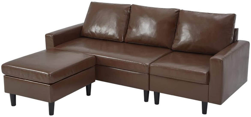 Convertible Sectional Sofa Couch, 3-seat Sofa Couch with Ottoman, L-Shaped Sofa with Modern PU Leather Fabric, for Living Room or Apartment (Brown)