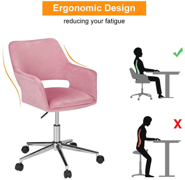 Homhum Desk Chair, Plush Velvet Office Chair for Home or Office, Modern, Comfortble, Nice Task Chair for Computer Desk (Polish Steel-Pink)