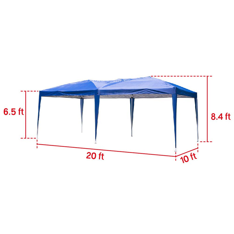 Outdoor 10 x 20 ft Pop up Canopy Party Tent Heavy Duty Gazebos Shelters Blue