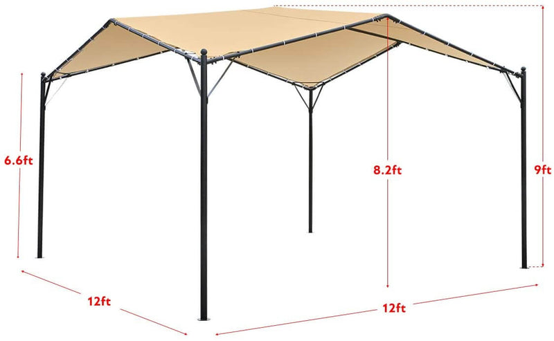 12 x 12ft Gazebo Canopy Weather-Resistant Softtop Gazebo Swan Shape Gazebo Canopy with Powder-Coated Frame, Beige