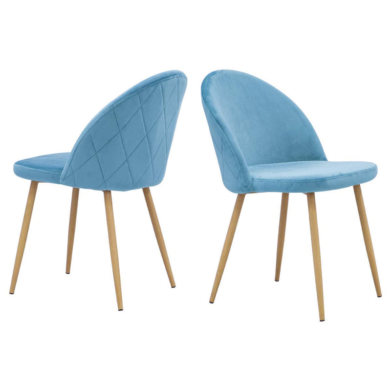 Accent Dining Chairs Upholstered Velvet with Wood Legs Set of 2 Blue