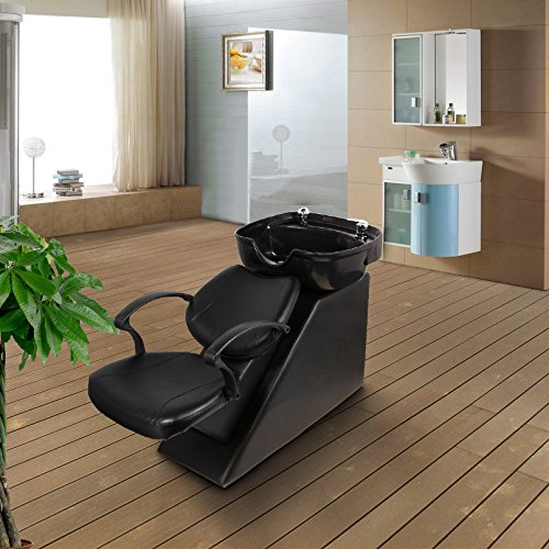 Backwash Chair Salon Bowl Shampoo Equipment Sink Unit Double Drain Beauty Stylist Station (Basic)