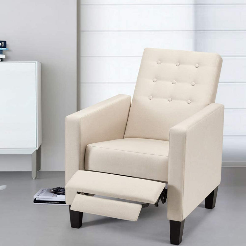Mid-Century Modern Fabric Recliner with Vibrated Massage, Push Back Recliner Chair w/Side Pocket and Button Tufted Back Single Sofa Chair for Living Room, Beige