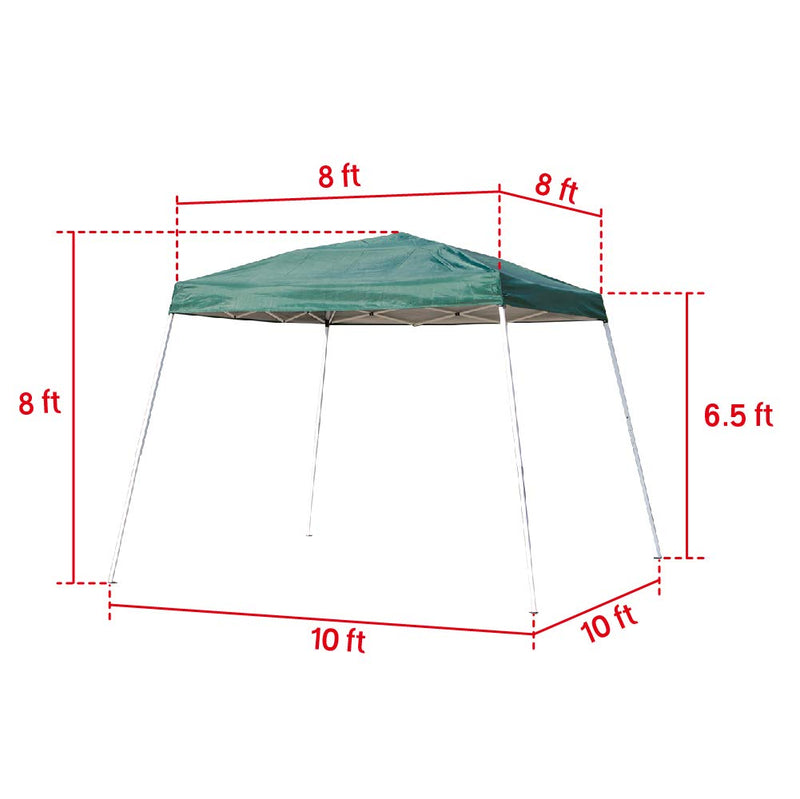 Foldable Outdoor Canopy Party Tent Portable Slant Leg Shelter 10x10 FT Green