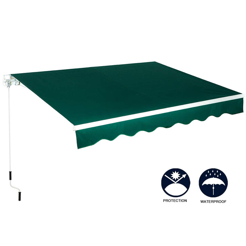 Patio Awning Retractable Sun Shade Patio Cover with Manual Crank Handle Dark Green