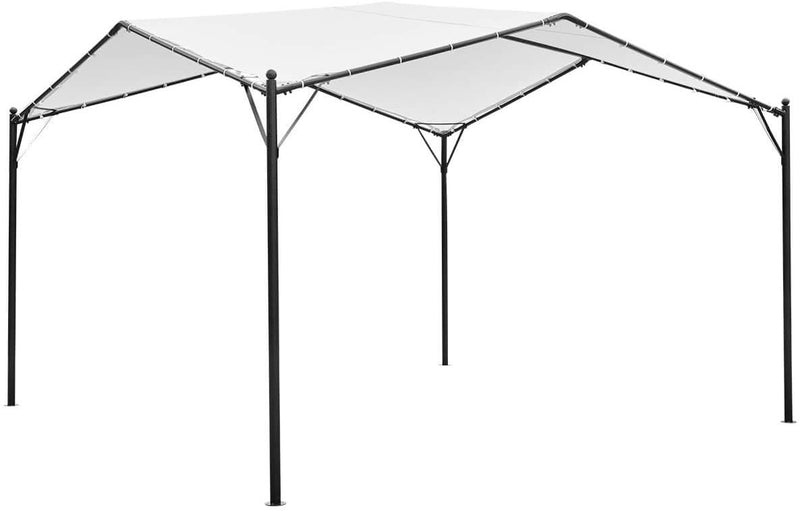 12 x 12ft Gazebo Canopy Weather-Resistant Softtop Gazebo Swan Shape Canopy with Powder-Coated Frame, Cream