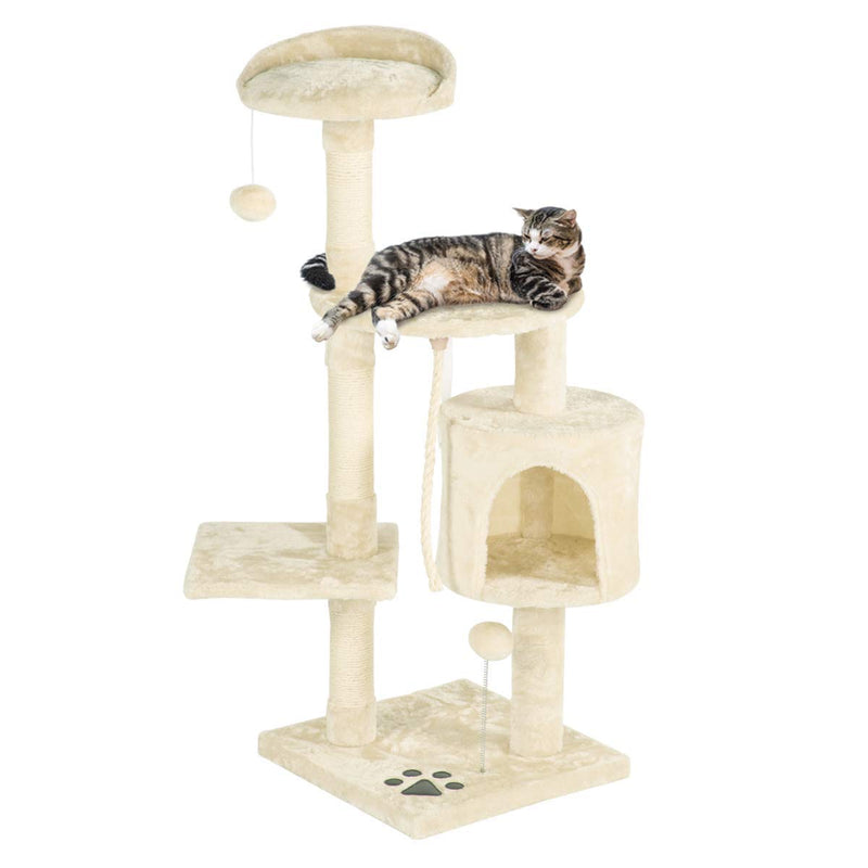44 inchesMulti-Level Cat Tree Tower Condo Cat Activity Center (Free Gifts)