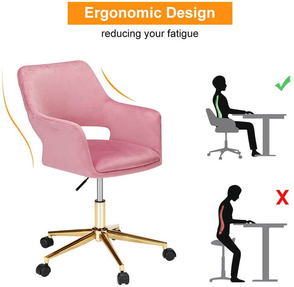 Homhum Desk Chair, Plush Velvet Office Chair for Home or Office, Modern, Comfortble, Nice Task Chair for Computer Desk (Golden-Pink)