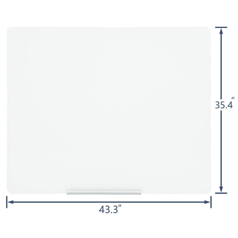 44×36 Inches Magnetic Glass Writing Dry Erase Board White Board (White)