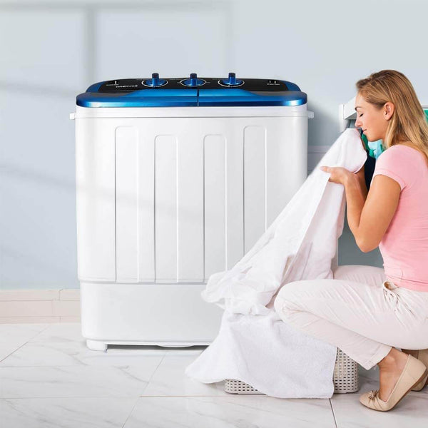 HOMHUM Portable Mini Compact Twin Tub Washing Machine w/Wash and Spin Cycle, 12.5 lbs 2IN1 Washer Spin Dryer, White/Blue