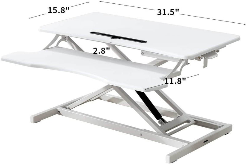 Stand Up Desk Converter 32 Inches Standing Desk Riser, Height Adjustable Home Office Desk with Deep Keyboard Tray for Laptop, White