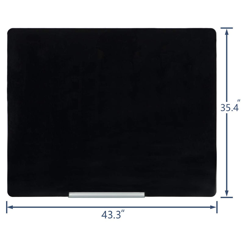 44×36 Inches Magnetic Glass Writing Dry Erase Board Office, Home, School (Black)