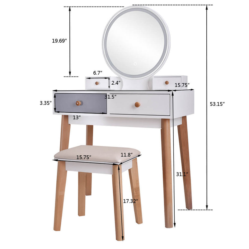 Bedroom Light Luxury Real Wood Dressing Table Simple With Lamp Three Color Adjustable