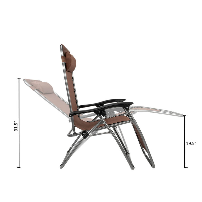 Zero Gravity Lounge Chair Brown with Portable Cup Holder Table