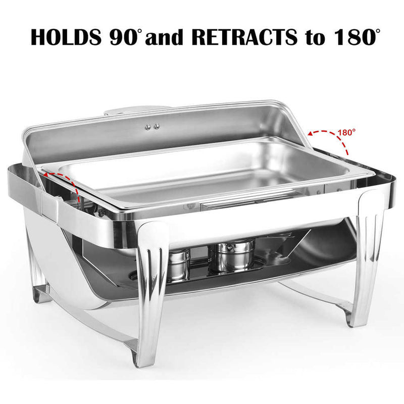 High Grade Rectangular Clamshell Buffet Stove Chafing Dish Food Warmer