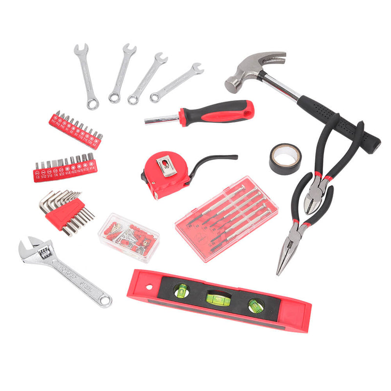 136 Piece Tool Set-General Household Hand Tool Kit, Auto Repair Tool Set Red