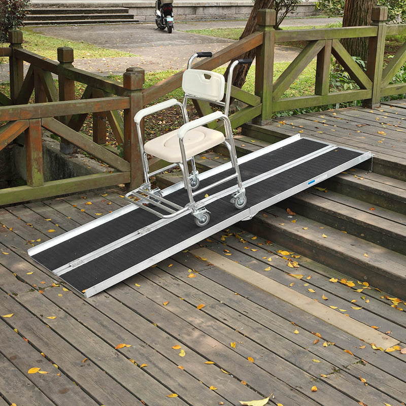 8FT Four-section Non-Skid Folding Lightweight Aluminum Alloy Wheelchair Scooter Mobility Ramps