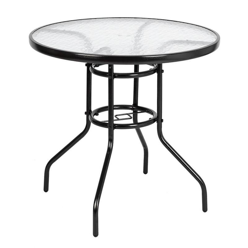 Outdoor Dining Table Round Toughened Glass Table Yard Garden Glass Table