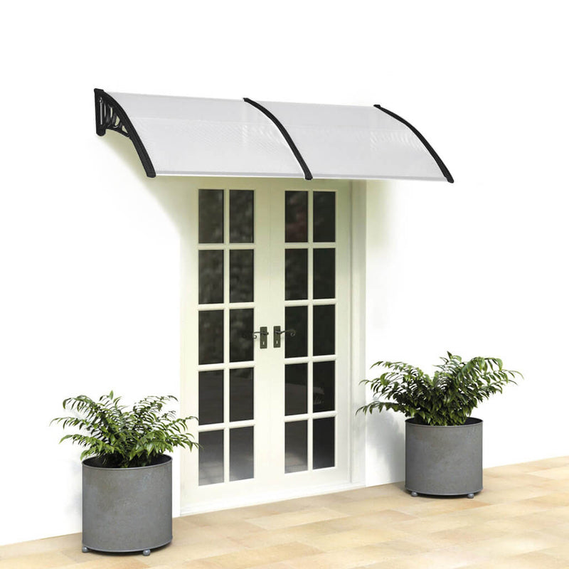 "40"" x 80"" Door Window Awning, Front Door Outdoor Patio Awning Canopy UV Protection, Black Bracket"