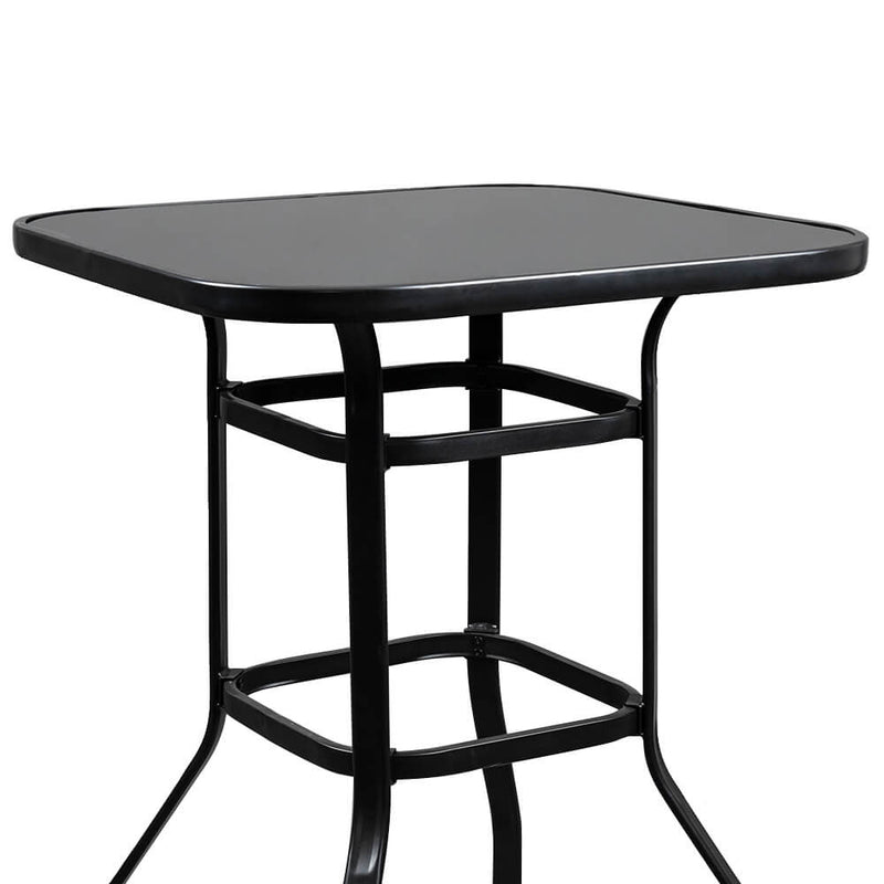 Dining Table Set Glass High Bar Table 2 Pieces Bar Chair