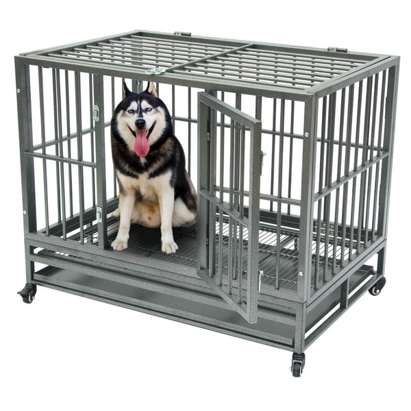 "36"" Heavy Duty Dog Cage Crates Metal Dog or Pet Crate Kennel with Tray Silver"