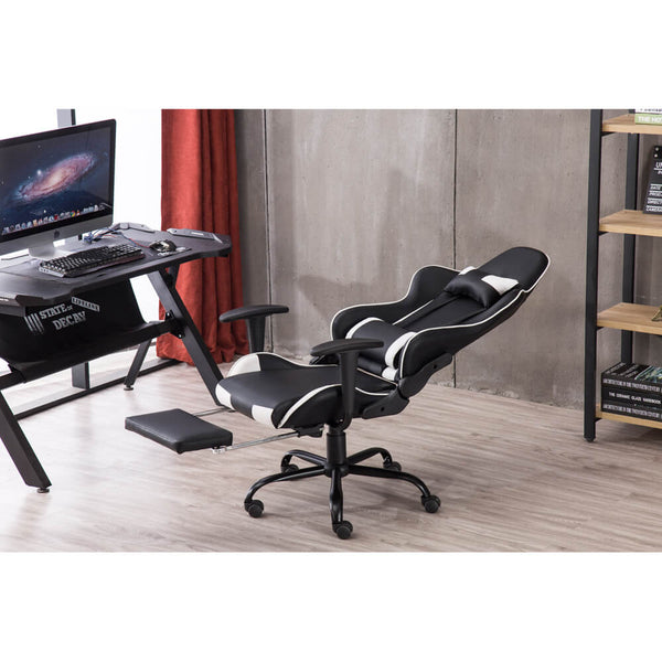 Racing Gaming Chair Faux Leather Chair Swivel Office Chair Black