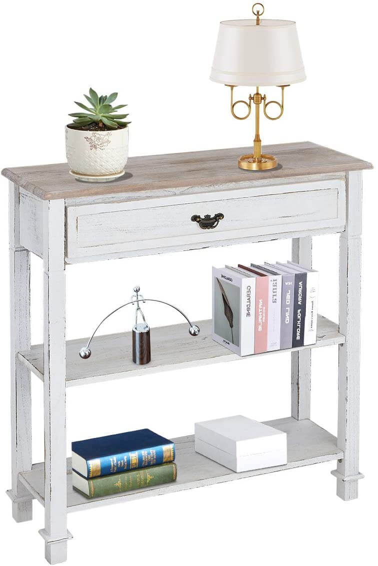 Console Table Entryway Table 3 Tiered Sofa Table Classic Design with Drawer and Opening Shelves, Entryway Hall Table, Sofa Tables Narrow Easy Assembly
