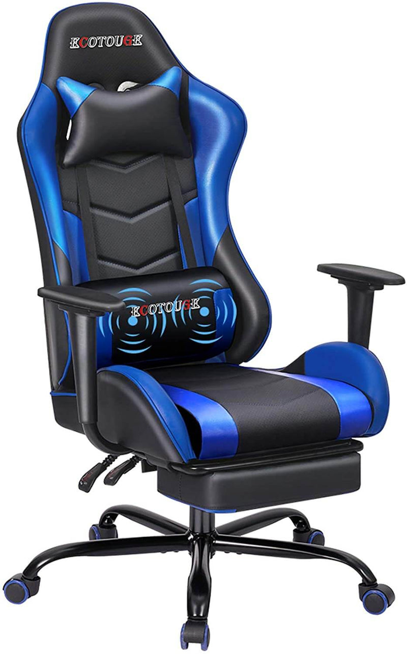 Gaming Chair Massage Ergonomic Office Chair High Back Computer Chair Racing PU Leather Recliner with Footrest, Black & Blue