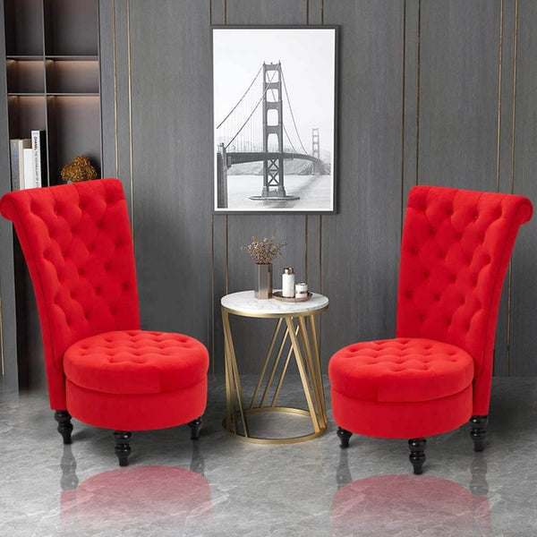 High Back Accent Chair, Retro Armless Sofa Chair, Living Room Furniture for Bedroom, Red