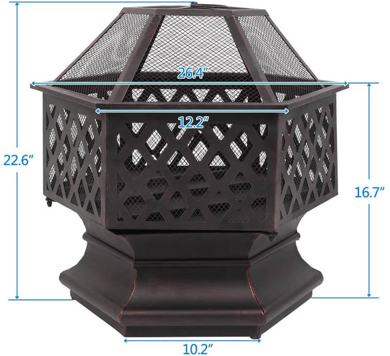 22'' Outdoor Fire Pit with Mesh Screen, Metal Wood Burning Bonfire Firepit