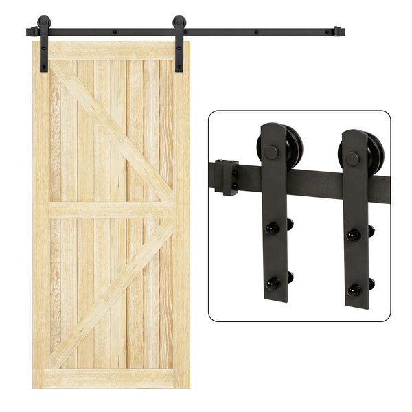 Heavy Duty Sliding Barn Door Hardware Kit Single Door Sliding Track Kit I Shape 5-12 FT